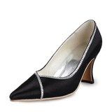 Satin Spool Heel Closed Toe Wedding Shoes With Rhinestone (047011044)