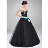 Duchesse-Linie Herzausschnitt Bodenlang Tüll Quinceañera Kleid (Kleid für die Geburtstagsfeier) mit Schleifenbänder/Stoffgürtel Perlen verziert Applikationen Spitze