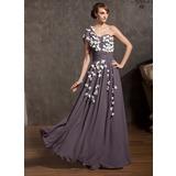A-Linie/Princess-Linie One-Shoulder-Träger Bodenlang Chiffon Kleid für die Brautmutter mit Rüschen Blumen