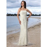 Sheath/Column Strapless Court Train Satin Tulle Wedding Dress With Lace (002005197)