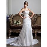 A-Line/Princess Sweetheart Chapel Train Taffeta Wedding Dress With Ruffle Lace Beading