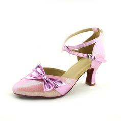 De mujer Cuero Tacones Danza latina Moderno con Del bowknot Tira de tobillo Zapatos de danza