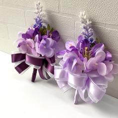 Attractive Seda artificiais Conjuntos de flores (conjunto de 2) - Buquê de pulso/Alfinete de lapela