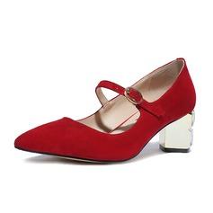 Donna Camoscio Tacco spesso Stiletto Punta chiusa con Fibbia Tacchi rivestiti di cristalli scarpe