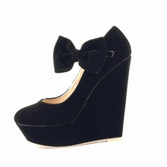 Suede Wedge Heel Platform Closed Toe Wedges With Bowknot shoes