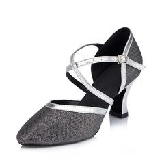 De mujer Cuero Brillo Chispeante Tacones Salón Moderno con Tira de tobillo Zapatos de danza