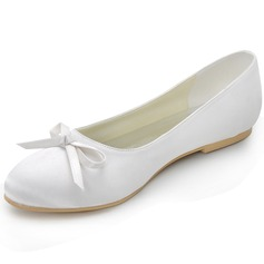 Kvinner silke som sateng Flat Hæl Lukket Tå Flate sko med Baugen