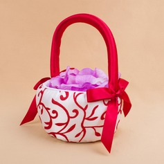 Lovely Flower Basket in Satin With Embroidery