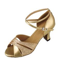 De mujer Brillo Chispeante Tacones Sandalias Salón Danza latina con Tira de tobillo Zapatos de danza