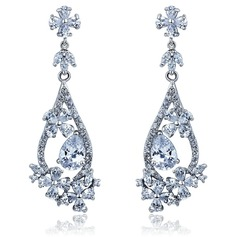 Beautiful Alloy With CZ Cubic Zirconia Ladies' Fashion Earrings