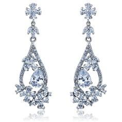 Schöne Legierung mit Cz Zirkonia Damen Art-Ohrringe