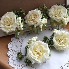 Charme Seda artificiais Conjuntos de flores (conjunto de 2) - Buquê de pulso/Alfinete de lapela