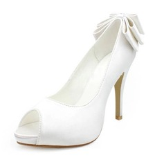 Satin Stiletto Heel Peep Toe Platform Pumps Wedding Shoes With Bowknot (047005829)