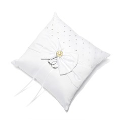 Ring Pillow in Satin With Bow/Rhinestones