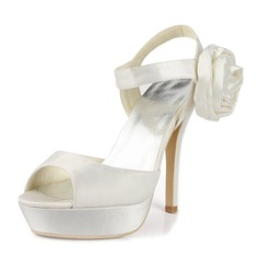 Satin Stiletto Heel Platform Slingbacks Pumps Sandals Wedding Shoes With Buckle Satin Flower (047011830)