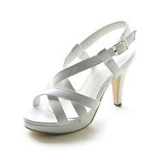 Kvinner Lær Stiletto Hæl Sandaler Platform Slingbacks med Spenne sko