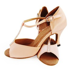 Satin Heels Latin Ballroom Dance Shoes With T-Strap (053012958)