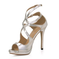 Patent Leather Stiletto Heel Sandalen Plateau Peep Toe schoenen