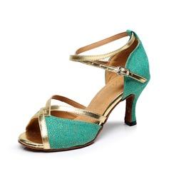 De mujer Tela Tacones Sandalias Danza latina con Tira de tobillo Zapatos de danza