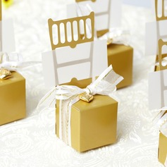 Stuhl Entwurf Geschenkboxen mit Bänder/Herz-Charme (Satz von 12)