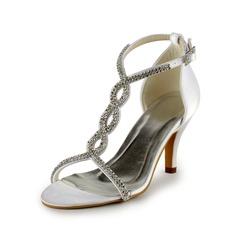 Women's Leatherette Stiletto Heel Sandals With Buckle Rhinestone