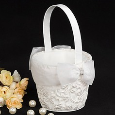 White Flower Basket With Sparking Entwined Embroidery(102018092)