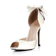 Women's Silk Like Satin Stiletto Heel Peep Toe Pumps With Bowknot Buckle