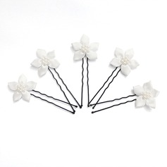 Gorgeous Alloy/Satin With Imitation Pearl Wedding Hairpins-5pcs (042024897)