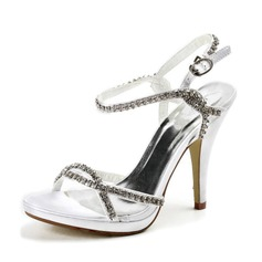 Satin Stiletto Heel Platform Sandals Wedding Shoes With Rhinestone (047011823)