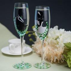 La novia y el novio de Diseño Vidrio Flautas tostado (Juego De 2)