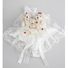 Wedding Ring Pillow In Satin And Lace With Cute Bear(103018256)