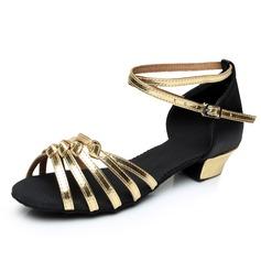 De mujer Niños Satén Cuero Tacones Sandalias Danza latina con Tira de tobillo Zapatos de danza