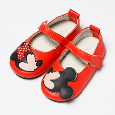 Girl's Real Leather Round Toe Closed Toe Mary Jane Flats With Animal Print
