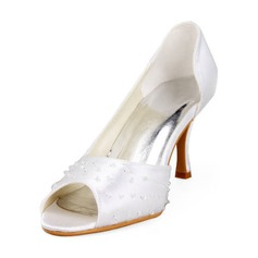 Satin Stiletto Heel Peep Toe Pumps Wedding Shoes With Beading (047011891)