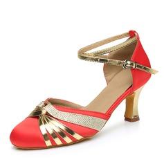 De mujer Satén Cuero Tacones Salón Estilo Moderno con Tira de tobillo Zapatos de danza