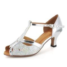 Donna Glitter scintillanti Pelle verniciata Tacchi Sandalo Latino Sala da ballo Matrimonio Parte con Con Listino a T Scarpe da ballo