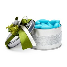Smiling Flower Cylinder Favor Tin With Flowers/Ribbons (Set of 6)