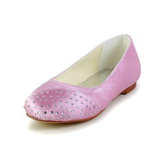 Kids' Satin Flat Heel Closed Toe Flats With Rhinestone