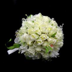 Elegant Hand-tied Satin/Cotton Bridal Bouquets