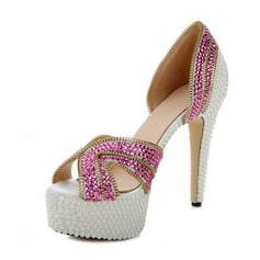 Women's Real Leather Stiletto Heel Platform Sandals With Rhinestone