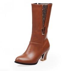 Frauen Kunstleder Stämmiger Absatz Absatzschuhe Geschlossene Zehe Kniehocher Stiefel mit Funkelnde Glitzer Reißverschluss Schuhe