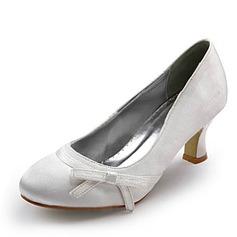 Women's Satin Spool Heel Closed Toe Pumps With Bowknot