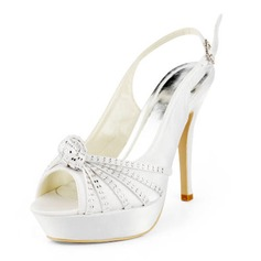 Satin Stiletto Heel Peep Toe Platform Slingbacks Pumps Wedding Shoes With Buckle Rhinestone (047011846)