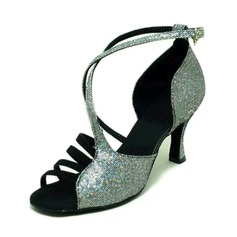 Women's Sparkling Glitter Sandals Latin Ballroom Dance Shoes