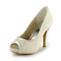 Lace Satin Stiletto Heel Peep Toe Platform Pumps Wedding Shoes With Stitching Lace (047011229)