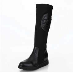 Real Leather Flat Heel Mid-Calf Boots With Rivet Zipper Others shoes