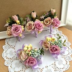Fascinante Fita/Seda artificiais Conjuntos de flores (conjunto de 2) - Buquê de pulso/Alfinete de lapela