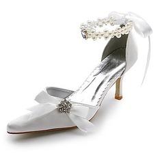 Mulher Cetim Salto carretel Fechados Bombas com Pérolas imitação Imitação de diamante Laço de fita