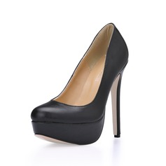 Leatherette Stiletto Heel Pumps Platform Closed Toe shoes