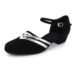 Women's Nubuck Flats Modern Ballroom With Buckle Dance Shoes